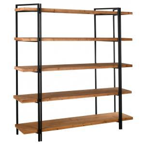 Photo NET2590 : Mdf fir wood vener and metal shelf, 5 shelves