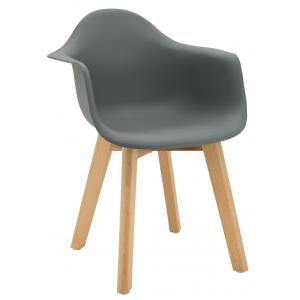 Photo NFE1523 : Grey polypro and beechwood children's armchair