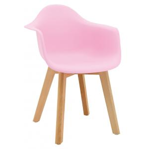 Photo NFE1524 : Pink polypro and beechwood children's armchair