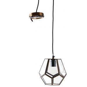 Photo NLA2130V : Lampe suspension en laiton et verre