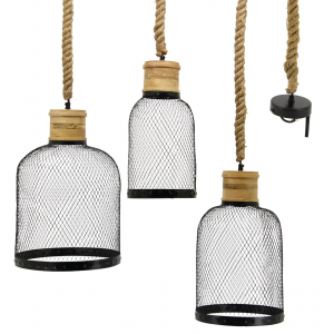 Photo NLA258S : Metal, rope and wood lampshade