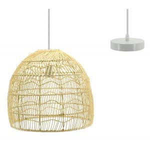 Photo NLA2750 : Natural wavy rattan and metal lamp