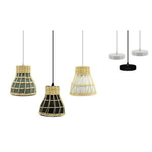 Photo NLA2780 : Natural hand woven rattan and metal lamp
