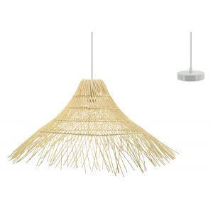 Photo NLA2790 : Natural rattan and metal lamp with fringes