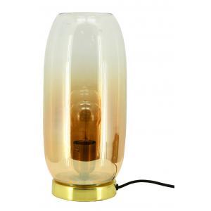 Photo NLA2900V : Amber glass and brass table lamp Ashoka
