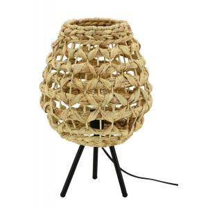 Photo NLA2920 : Natural hand woven hyacinth and metal floor lamp