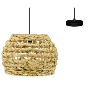 Photo NLA3000 : Round natural hand woven hyacinth and metal lamp