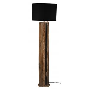 Photo NLA3050 : Black cotton and recycled wood floor lamp