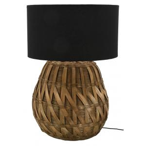 Photo NLA3060 : Lampe ronde en bambou naturel tressé et coton