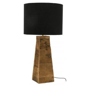 Photo NLA3070 : Natural wood recycled and black cotton table lamp