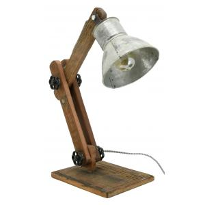 Photo NLA3120 : Metal and recycled wood table lamp Archi