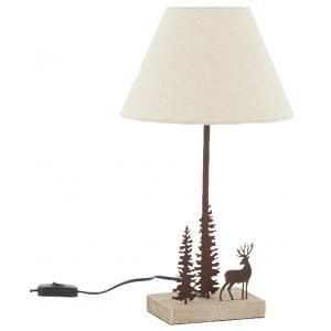 Photo NLA3160 : Lampe en métal et bois cerf et sapins