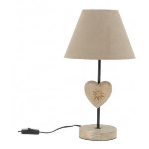 Photo NLA3180 : Lampe à poser en métal et bois Coeur