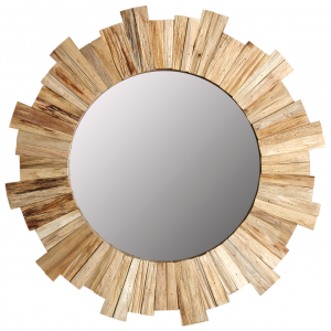Photo NMI1720V : Miroir rond en pin