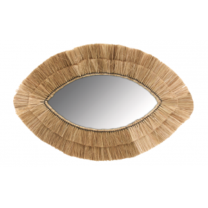 Photo NMI1830V : Miroir oeil en jonc naturel