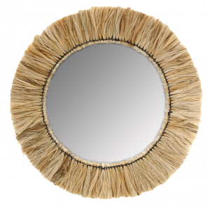 Photo NMI1860V : Miroir rond en jonc naturel