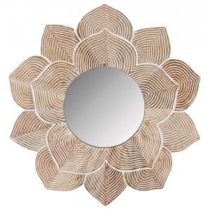 Photo NMI1870V : Miroir lotus en manguier et médium sculpté