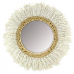 Photo NMI1890V : Miroir en rotin et plume de cygne