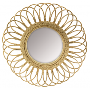 Photo NMI1900V : Miroir marguerite en moelle de rotin