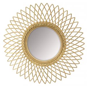Photo NMI1910V : Miroir soleil en moelle de rotin