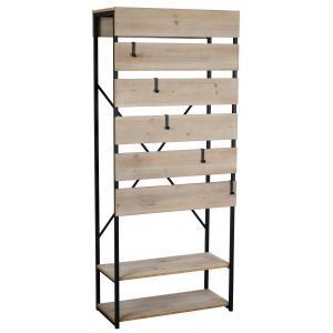 Photo NPM1140 : Mdf veneer wood and black metal shelf