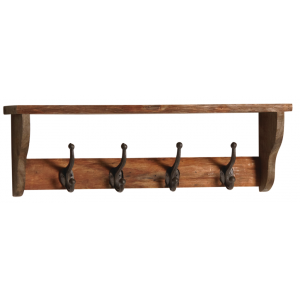 Photo NPT1400 : Wall wooden hanger with 4 metal hooks