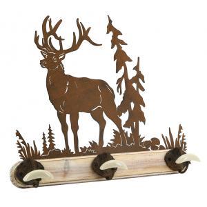 Photo NPT1570 : Patère en bois, métal et céramique Cerf