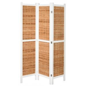Photo NPV1600 : Paravent 3 panneaux en paulownia teinté blanc et bambou naturel