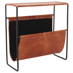 Photo NRV1170C : Porte-revues en métal et cuir