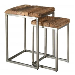 Photo NSE197S : Brushed steel and solid wood plant stand