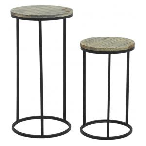 Photo NSE200S : Metal and pine wood plant stands