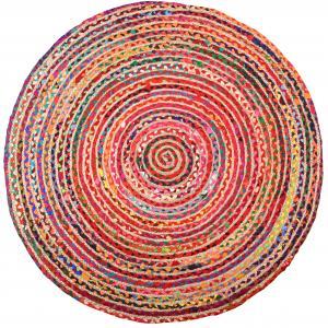 Photo NTA2030 : Tapis rond coloré en jute et en coton