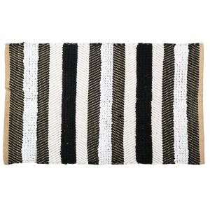 Photo NTA2070 : Tapis à rayures en jute naturelle et coton