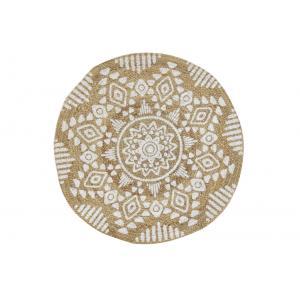 Photo NTA2291 : Tapis rond en jute naturelle, motif ethnique teinté.