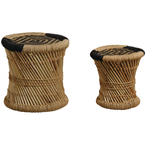 Photo NTB185S : Natural and black reed stools