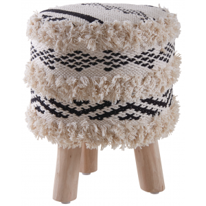 Photo NTB1870 : Cotton Berber stool with wooden legs