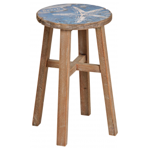 Photo NTB1890 : Blue pinewood stool sea design