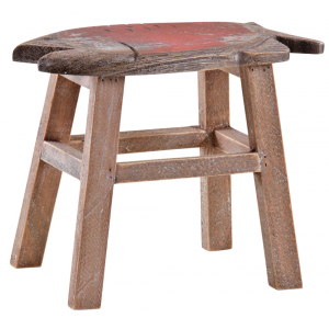 Photo NTB1900 : Pinewood red fish-shaped stool