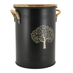 Photo NTB2070 : Black metal stool shaped log basket Tree