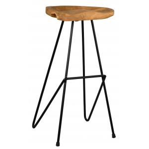 Photo NTB2140 : Recycled teak and metal stool