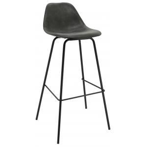 Photo NTB2152 : Grey imitation leather and metal stool