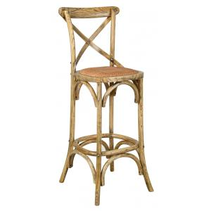 Photo NTB2160 : Antic elm wood and oiled naturel rattan stool