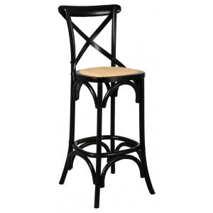 Photo NTB2170 : Black lacquered birch wood and oiled naturel rattan stool
