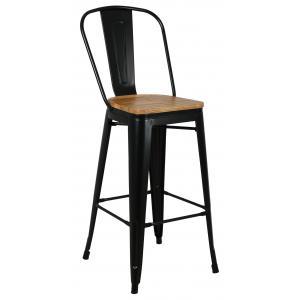 Photo NTB2200 : Black metal and oiled elm wood stool