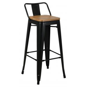 Photo NTB2210 : Black metal and oiled elm wood stool