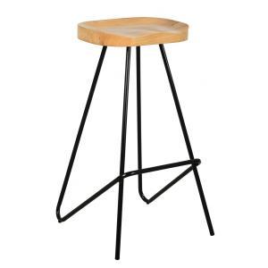 Photo NTB2230 : Metal and oiled elm wood stool