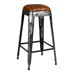 Photo NTB2320 : Old black metal and leather stool