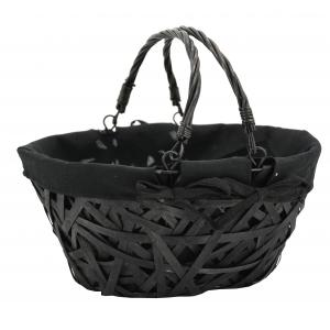 Photo PAM4960C : Oval black lacquered crazy wood basket