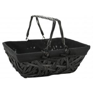 Photo PAM4970C : Black lacquered crazy wood basket