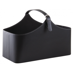 Photo PFA1400 : Corbeille de rangement en simili cuir noir